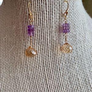 Jewelry - 💜 Citrine & Amethyst Dangle Earrings